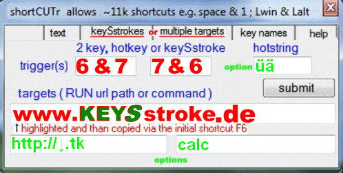 advanced keySstroke setup i.e.  [6|7]